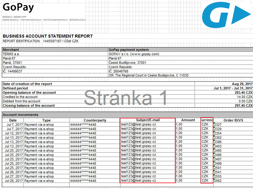 settings statements of account movements